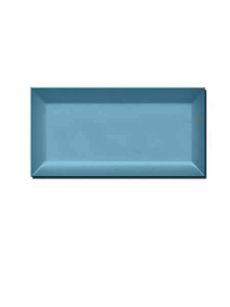 Azulejo tipo metro biselado aqua blue brillo 10X20 cm (1 m2/cj)