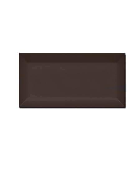 Azulejo tipo metro biselado chocolate brillo 10X20 cm.