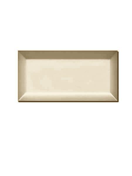 Azulejo tipo metro biselado crema brillo 10X20 cm.