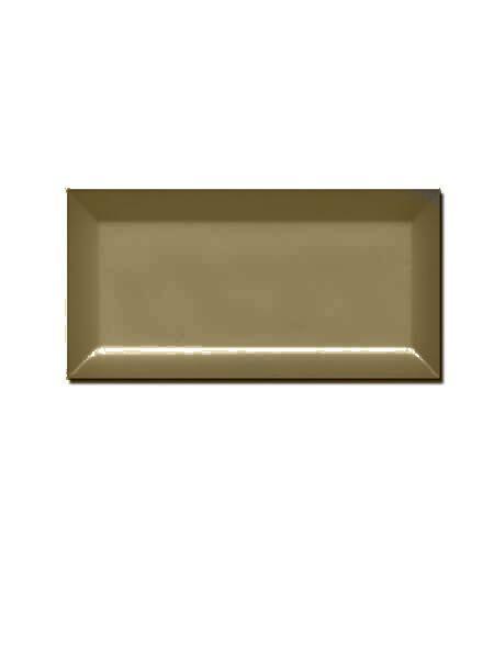 Azulejo tipo metro biselado Olive brillo 10X20 cm.