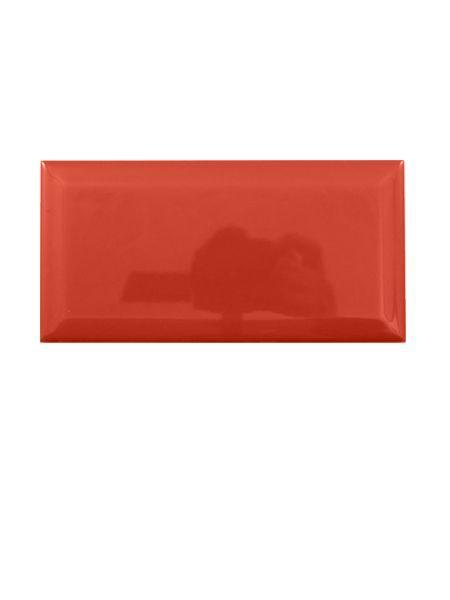 Azulejo tipo metro biselado rojo mate 10X20 cm.
