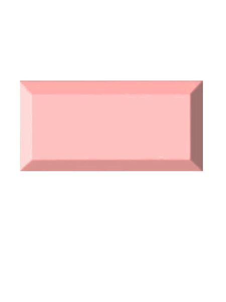 Azulejo tipo metro biselado rosa brillo 10X20 cm.