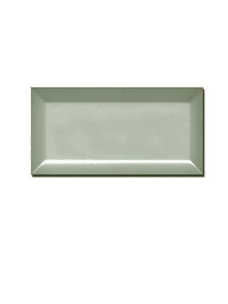 Azulejo tipo metro biselado Sage brillo 10X20 cm