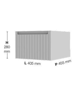 Coqueta suspendida 1 cajón Sinergy de Fiora 405 x 455 x 280.