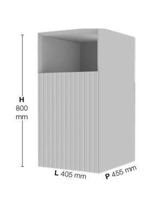 Coqueta suspendida 1 puerta 1 hueco derecha Sinergy de Fiora 405 x 455 x 800 cm.