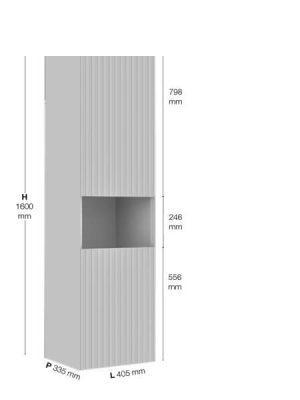 Columna 2 puertas y 1 hueco derecha Sinergy Fiora 405 x 335 x 1600 cm.