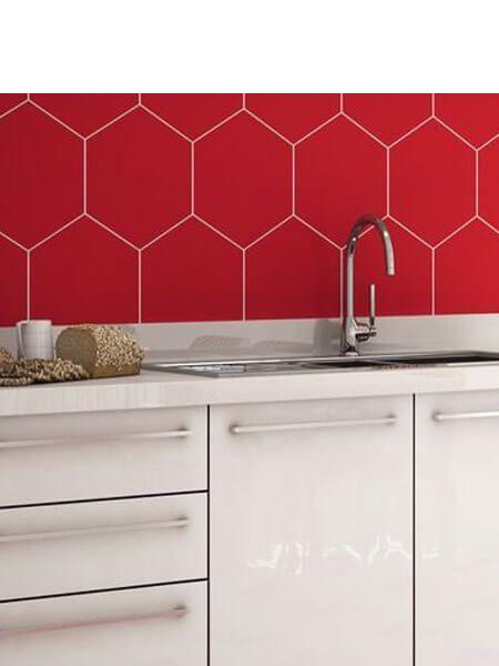 Pavimento hexagonal porcelánico Opal rojo 28.5 x 33 cm (1 m2/cj)