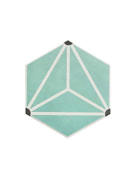 Pavimento hexagonal porcelánico Osaka Aqua 28.5 x 33 cm (1 m2/cj)
