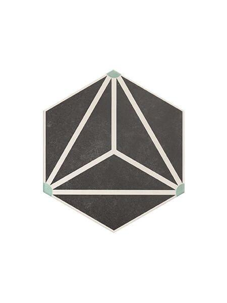 Pavimento hexagonal porcelánico Osaka Charcoal 28.5 x 33 cm (1 m2/cj)