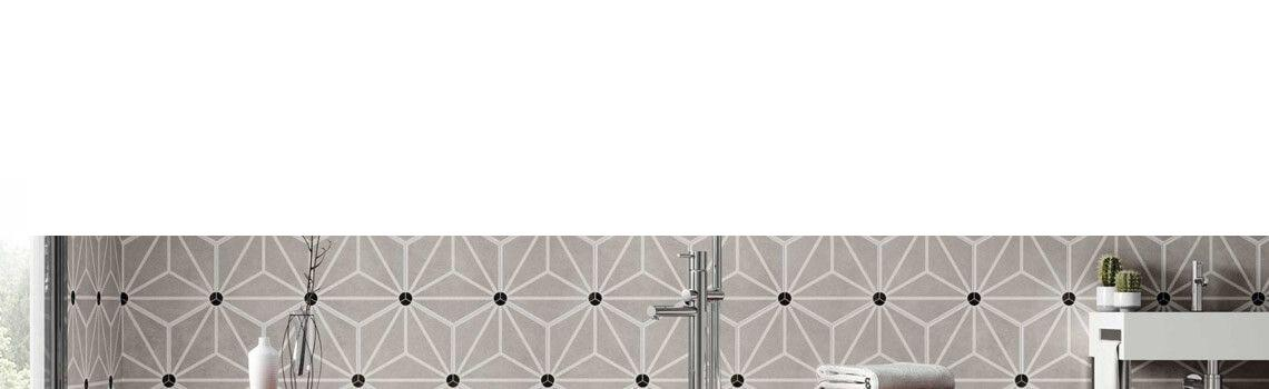 Pavimento hexagonal porcelánico Osaka Grey 28.5 x 33 cm.