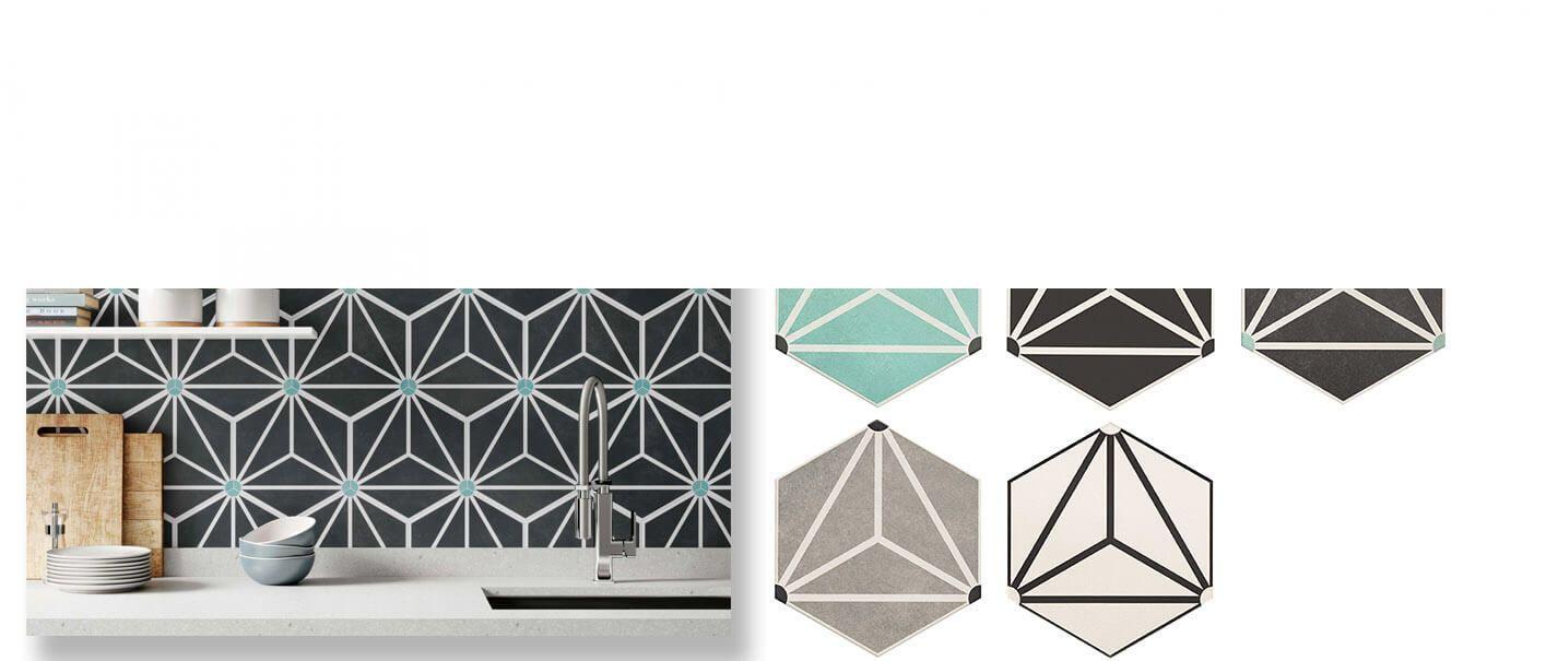 Pavimento hexagonal porcelánico Osaka 28.5 x 33 cm.