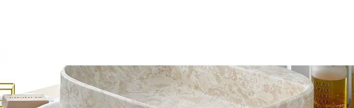 Lavabo mármol rectangular crema Clematis 50 x 38 x 15 cm.