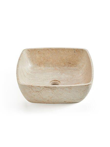 Lavabo mármol cuadrado crema clavel 40 x 40 x 15 cm