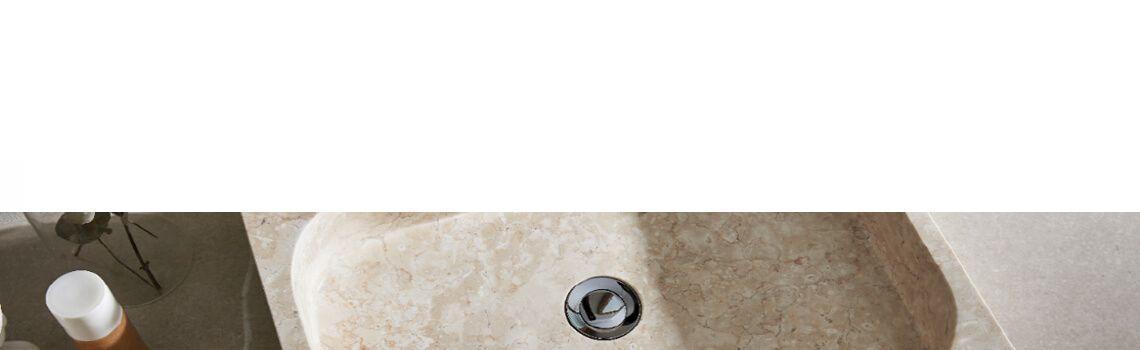 Lavabo mármol rectangular crema Coleo 50 x 38 x 15 cm.