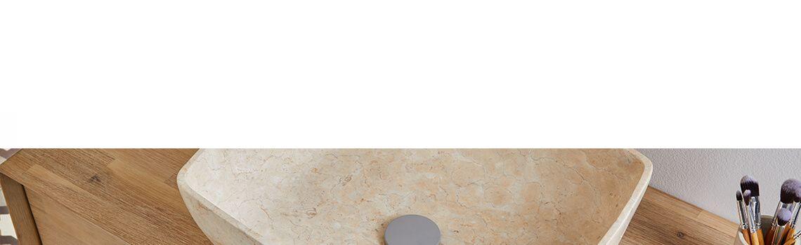 Lavabo mármol rectangular crema Dalia 50 x 38 x 15 cm