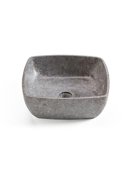 Lavabo mármol cuadrado gris clavel 40 x 40 x 15 cm