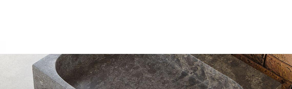 Lavabo mármol rectangular gris Coleo 50 x 38 x 15 cm.
