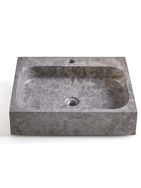 Lavabo mármol rectangular gris Coleo 52 x 42 x 13 cm