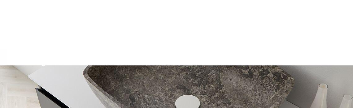 Lavabo mármol rectangular gris Dalia 50 x 38 x 15 cm.