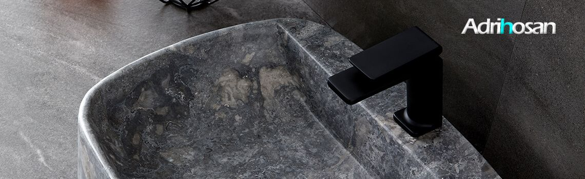Lavabo mármol rectangular gris Clematis 50 x 38 x 15 cm.