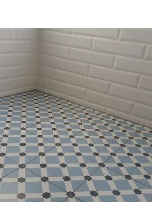 Pavimento porcelánico hidráulico Laverton Palau celeste 24x24 cm.