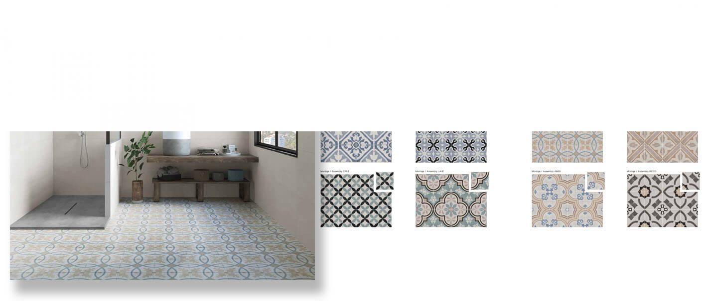 Pavimento porcelánico hidráulico pastel 22.3x22.3 cm.
