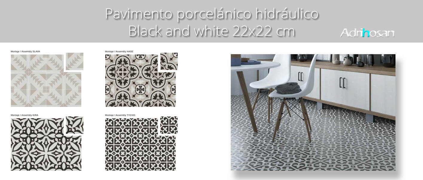 Pavimento porcelánico hidráulico 22.3x22.3 cm.