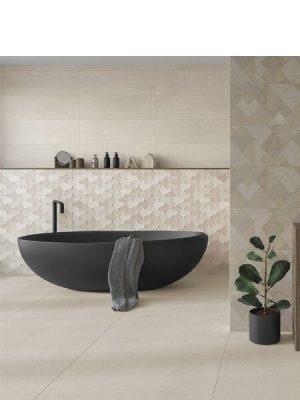 Pavimento porcelánico rectificado Mercurio cream 45x90 cm.