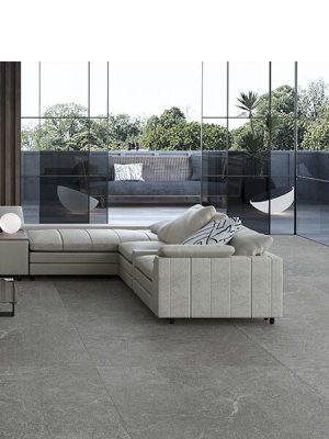 Pavimento porcelánico rectificado Mercurio grey 45x90 cm.