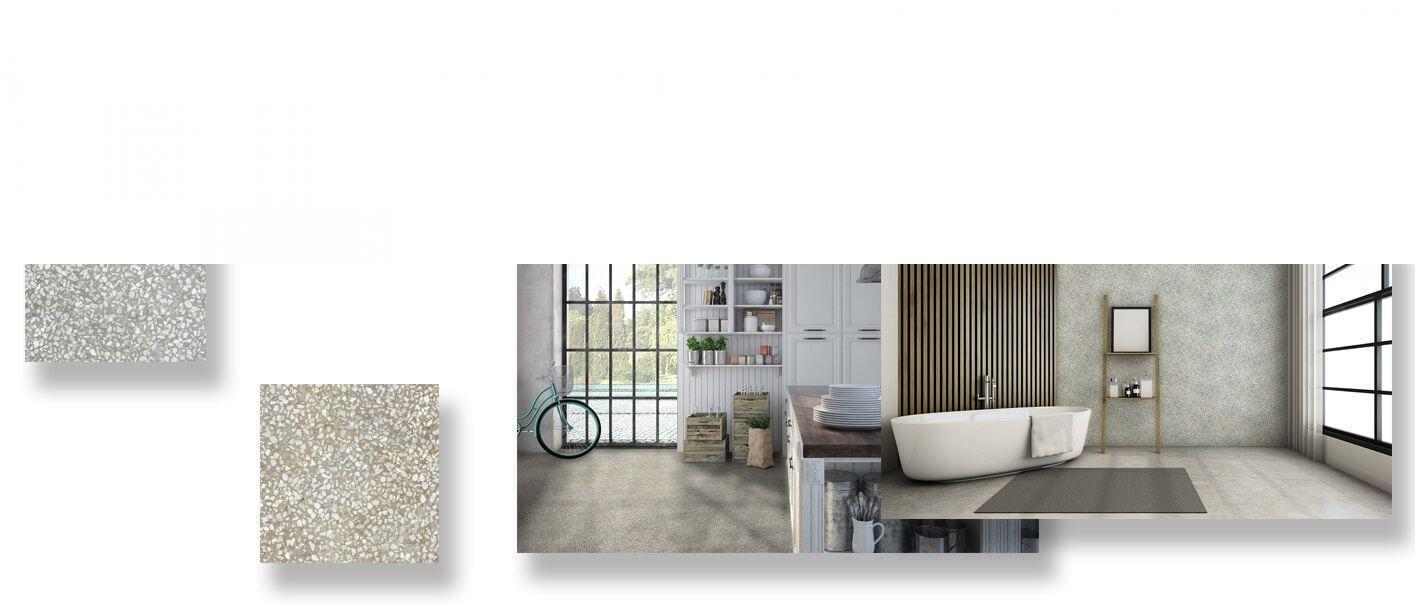 Pavimento porcelánico terrazo Alba gris 24x24 cm