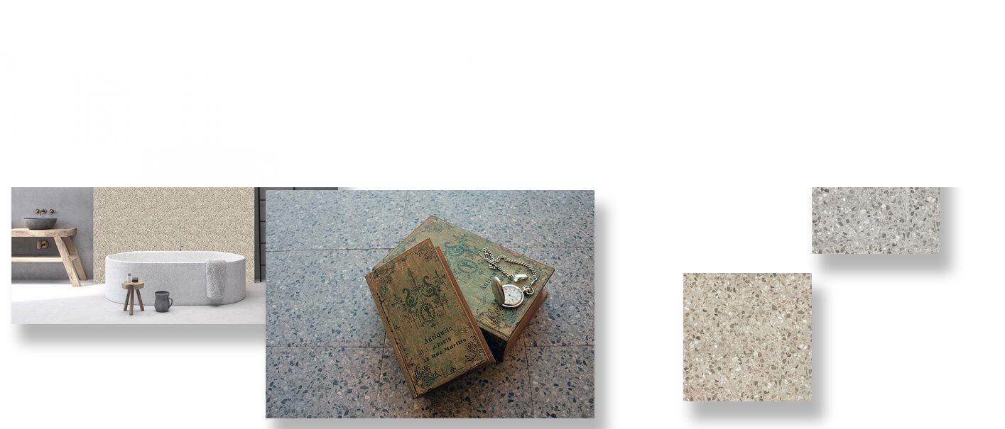 Pavimento porcelánico terrazo Noche gris 24x24 cm.
