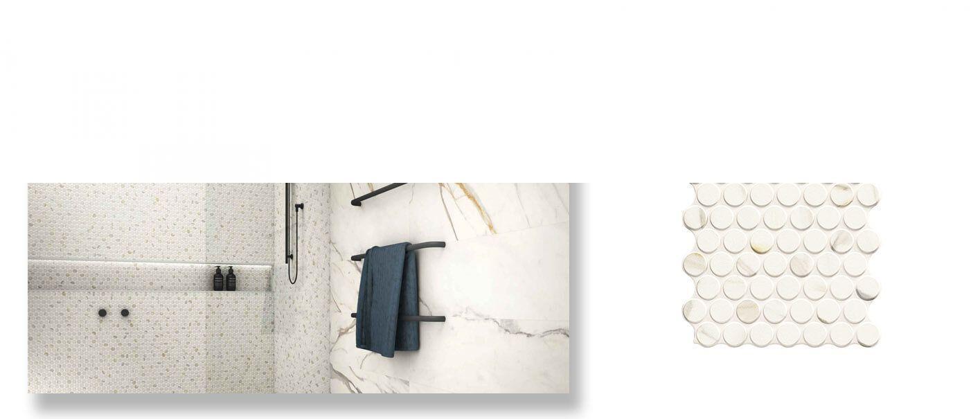 Revestimiento porcelánico Circle Calacatta Gold 30,9 x 30,9 cm.