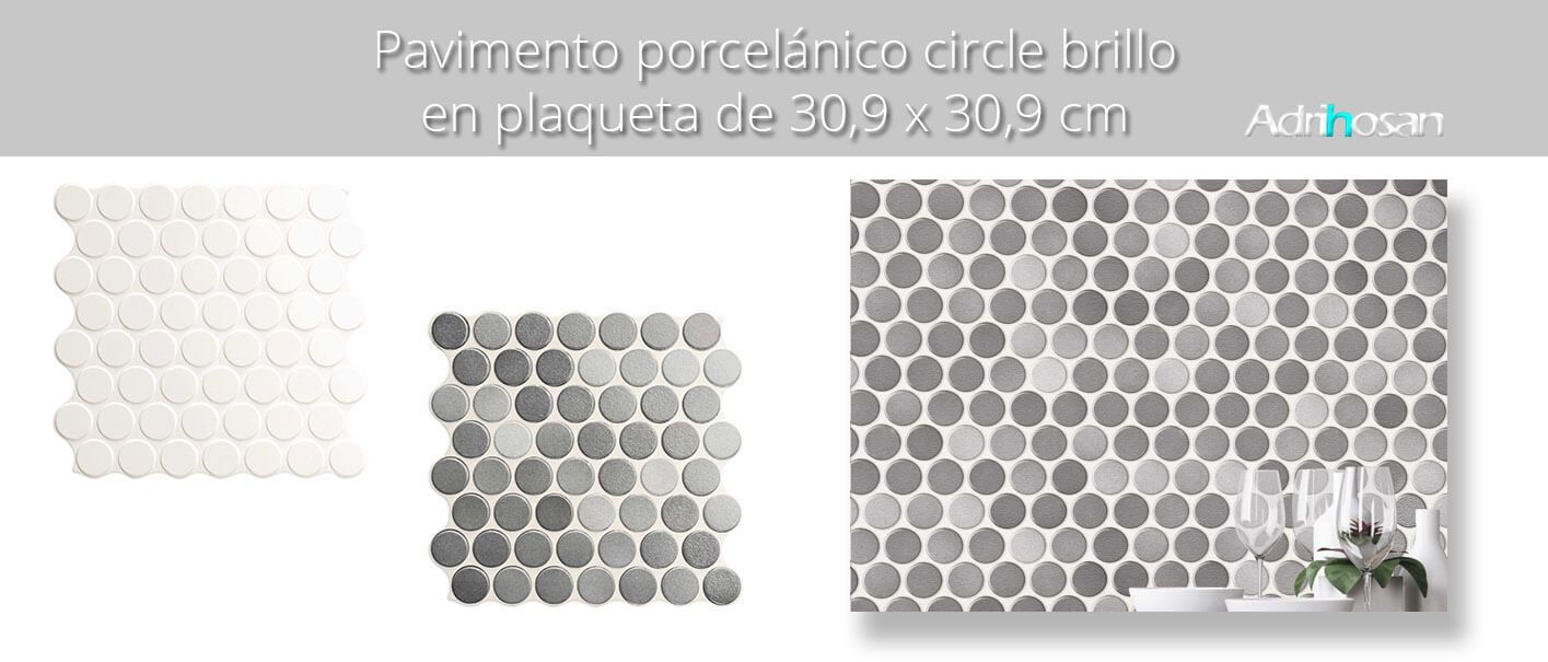 Revestimiento porcelánico Circle grey brillo 30,9 x 30,9 cm