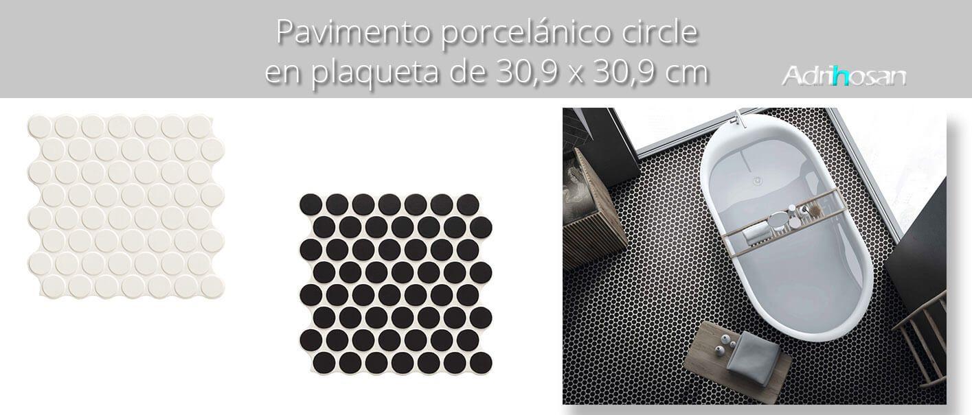 Revestimiento porcelánico Circle black 30,9 x 30,9 cm.