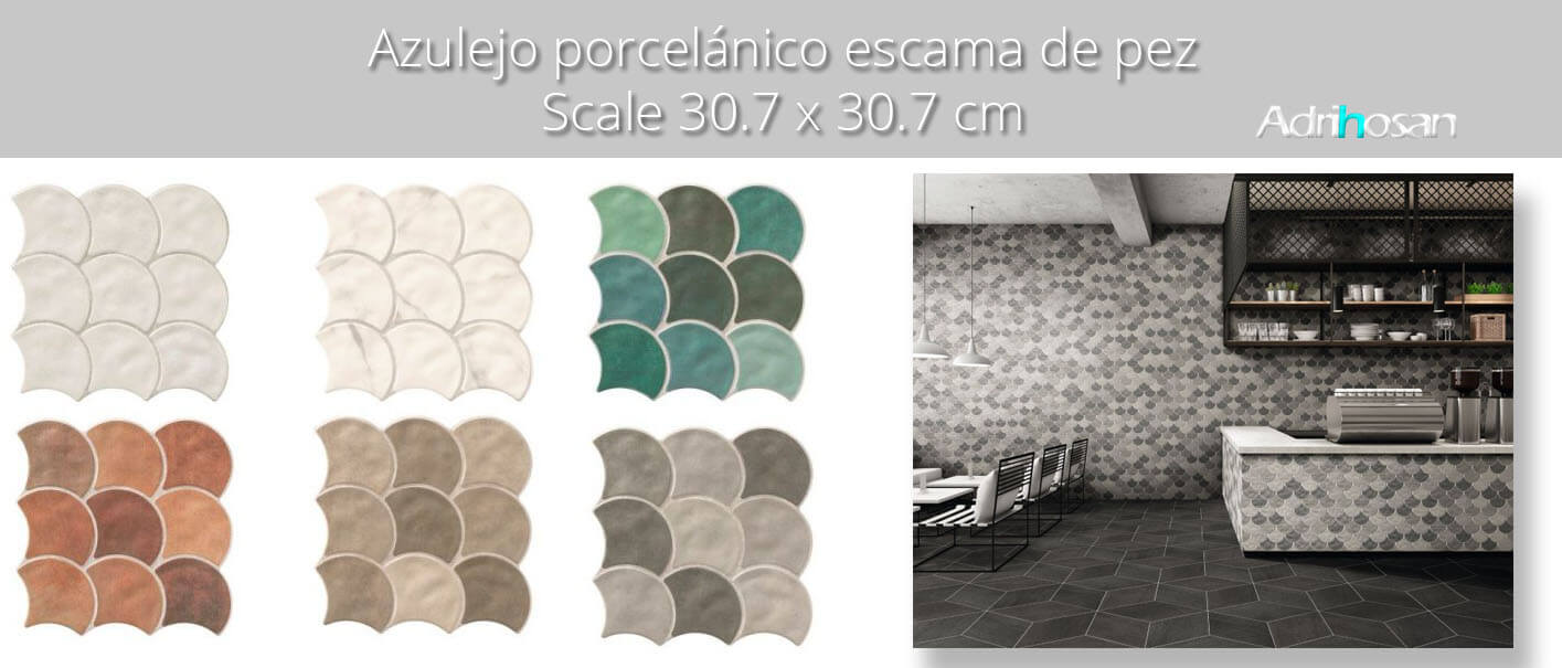 Azulejo porcelánico escama de pez Scale concret 30.7x30.7 cm.