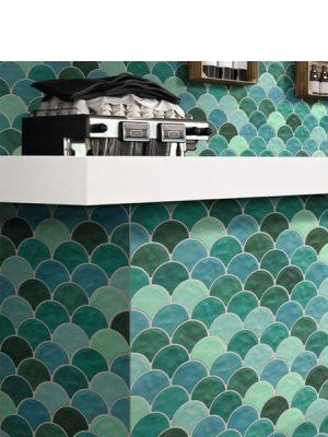 Azulejo porcelánico escama de pez Scale garden 30.7x30.7 cm.