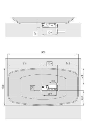 Bañera exenta Solid Surface Timor 190x100 cm.