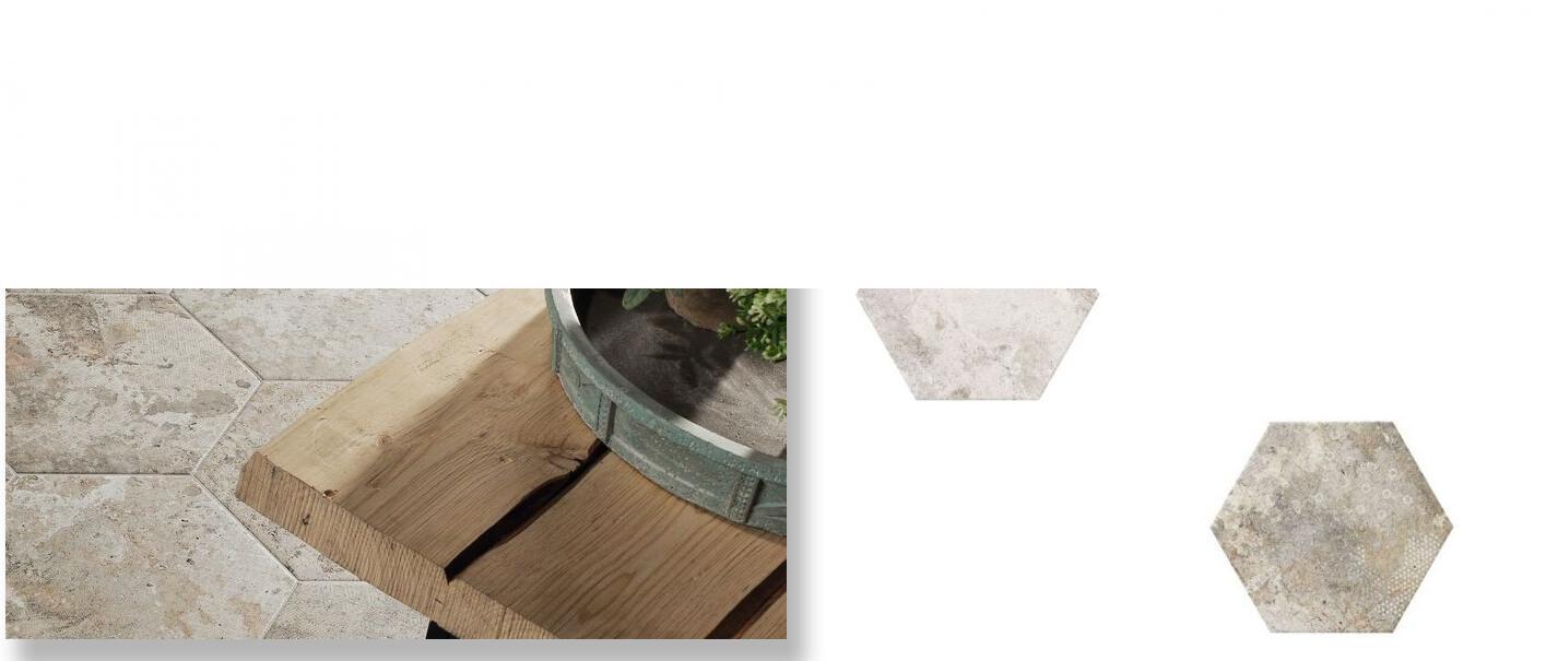 Pavimento hexagonal porcelánico Blur blanco 28.5 x 33 cm.