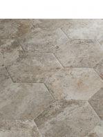 Pavimento hexagonal porcelánico Blur gris 28.5 x 33 cm.