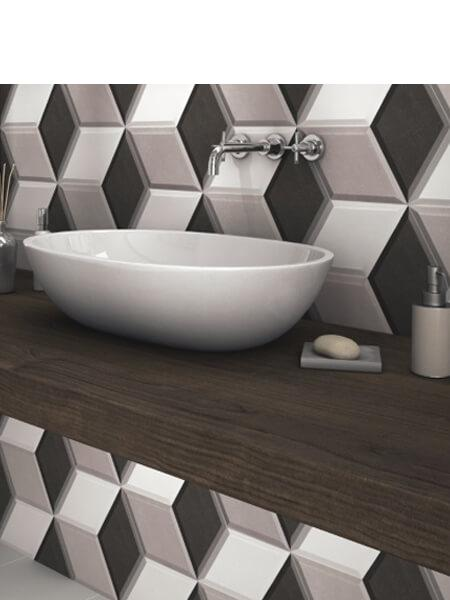 Pavimento hexagonal porcelánico Diamond gris 28.5 x 33 cm (1 m2/cj)