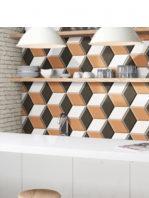 Pavimento hexagonal porcelánico Diamond ocre 28.5 x 33 cm.