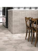 Pavimento hexagonal porcelánico Memphis gris 28.5 x 33 cm.