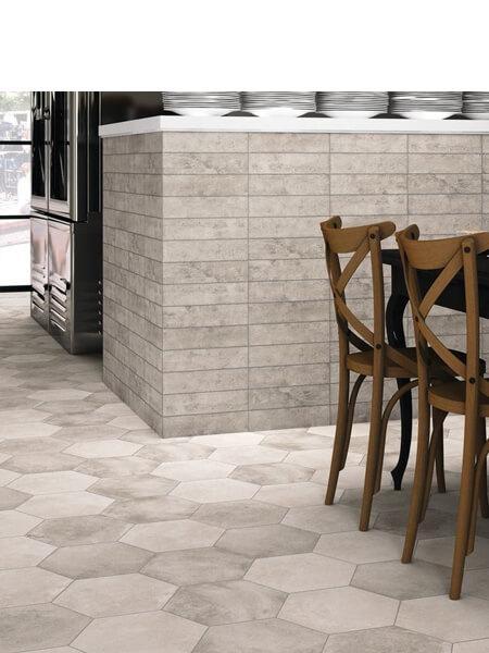 Pavimento hexagonal porcelánico Memphis gris 28.5 x 33 cm (1 m2/cj)