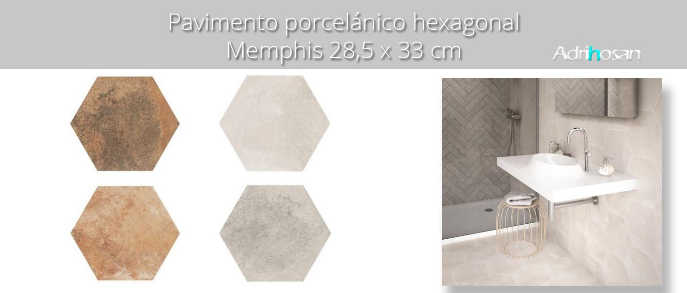 Pavimento hexagonal porcelánico Memphis marron 28.5 x 33 cm.