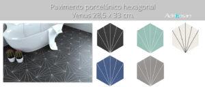 Pavimento hexagonal porcelánico Venus 28.5 x 33 cm.