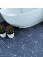 Pavimento hexagonal porcelánico Venus Indigo 28.5 x 33 cm.