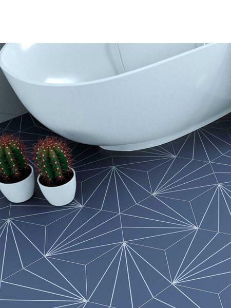 Pavimento hexagonal porcelánico Venus indigo 28.5 x 33 cm (1 m2/cj)