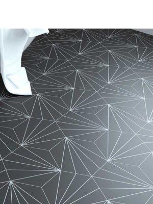Pavimento hexagonal porcelánico Venus black 28.5 x 33 cm.