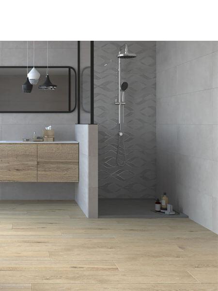 Revestimiento pasta blanca rectificado decorado Varesse gris 33.3x100cm (2 m2/cj)