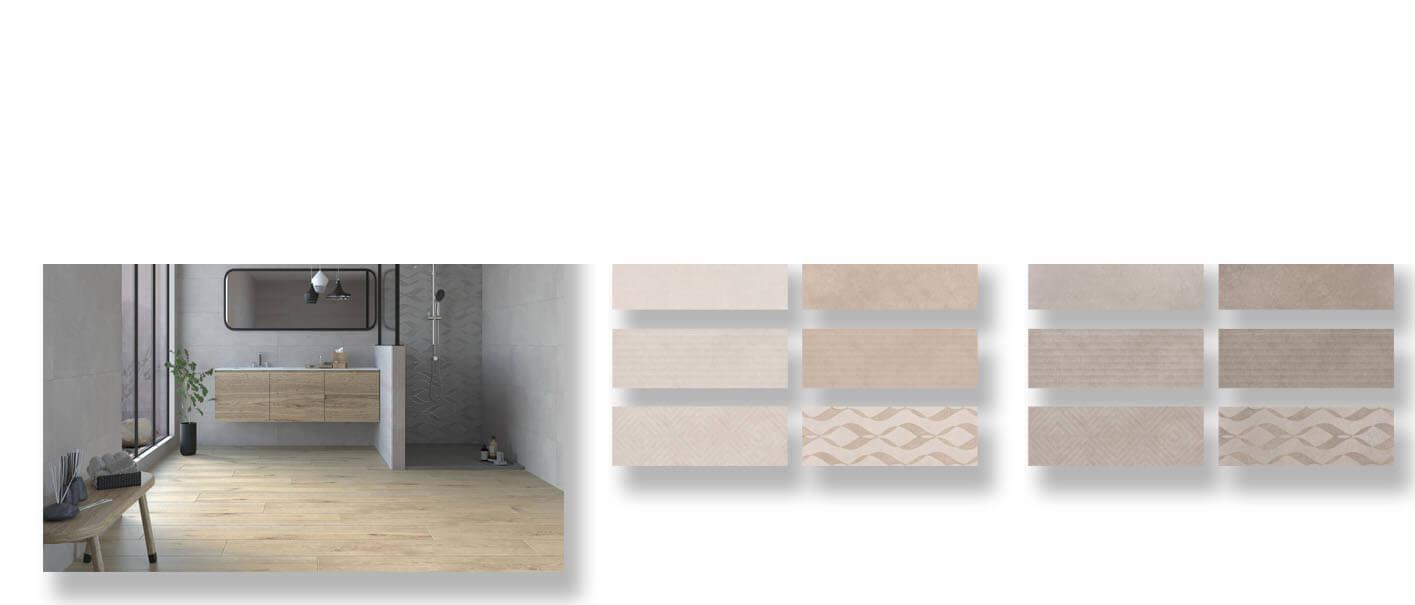 Revestimiento pasta blanca rectificado cement mate 33,3x100 cm